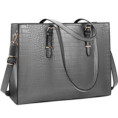 Lubardy Handtasche Damen Shopper Damen Groß Laptop Tasche 15.6 Zoll Elegant PU Leder Umhängetasche Arbeitstasche für Business Büro Schule Einkauf Arbeit Grau
