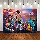 Cartoon Boy Toy Story Carnival Photography Backdrops It's A Boy Story Street Scene Theme Photo Background Kids Birthday Party Decoration Supplies Baby Shower Banner Studio Props Vinyl 7x5ft