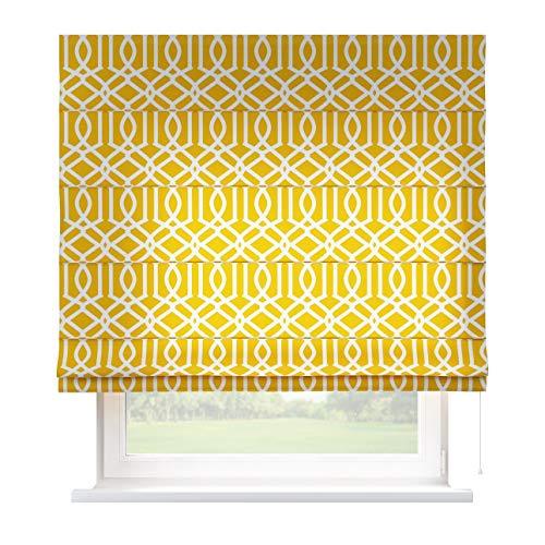 Dekoria Raffrollo Capri ohne Bohren Blickdicht Faltvorhang Raffgardine Wohnzimmer Schlafzimmer Kinderzimmer 130 × 170 cm gelb Raffrollos auf Maß maßanfertigung möglich