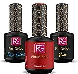 PINK GELLAC Shellac - Esmalte de uñas de gel 3 x 15 ml para lámpara UV LED | 109 pintalabios rojo rojo 15 ml + base coat Extend 15 ml + top coat Shine 15 ml | esmalte de uñas en gel