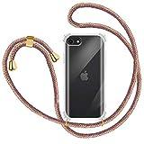 Funda con Cuerda para Apple iPhone 7/ iPhone 8/ iPhone SE 2020, Carcasa Transparente TPU Suave Silicona Case con Correa Colgante Ajustable Collar Correa de Cuello Cadena Cordón - Multicolor