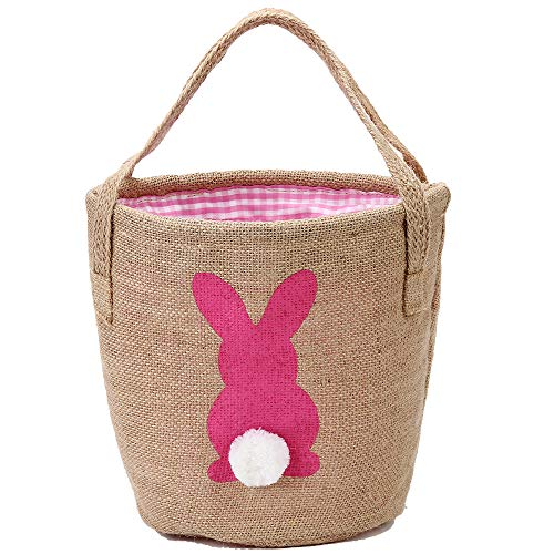 Easter Bunny Basket Burlap Buckets with Two Handles Egg Hunt Buckets with Fluffy Tail for Kids Tote Storage Eggs Candies…