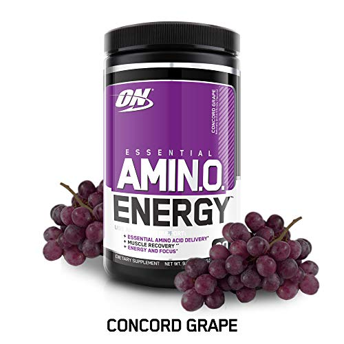 OPTIMUM NUTRITION ESSENTIAL AMINO ENERGY, Concord Grape, Keto Friendly BCAAs, Preworkout and Essential Amino Acids, with Green Tea and Green Coffee Extract, 30 Servings