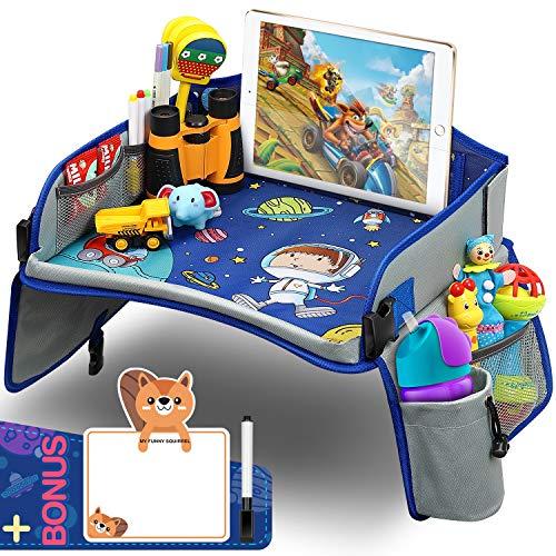 Yooly Kinder Reisetisch, Knietablett Reisetisch Weltraum Muster mit Weitere Organisieren Taschen, Ersichtlich iPad-Halterung & Getränkehalter Spieltisch tisch auto Geschenk für 3+ Jahre Kinder