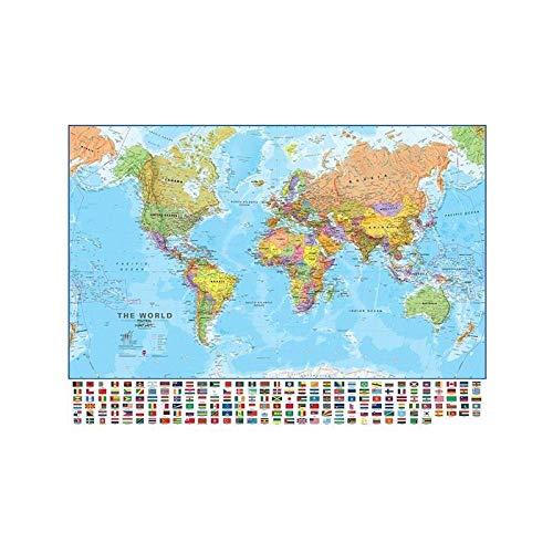WSF-MAP, 1 stück 150x100cm Die Welt Politische physikalische Karte Faltbare No-Fading-Weltkarte mit Nationalflaggen für Kultur Reise-Malerei-Plakat