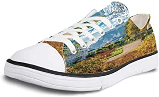 K0k2t0 Canvas Sneaker Low Top Shoes,Country Decor Image of Sail Boats Ships on The Shore Harbor by The Sea Small Rural Fishing Town Art Work