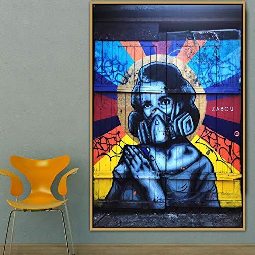 PLjVU Chica Ciudad Arte Callejero Graffiti Arte de la Pared póster Foto de la Pared Imagen Arte de la Pared Sala de Estar decoración de la Pared Pintura Lienzo-Sin marco30x45cm