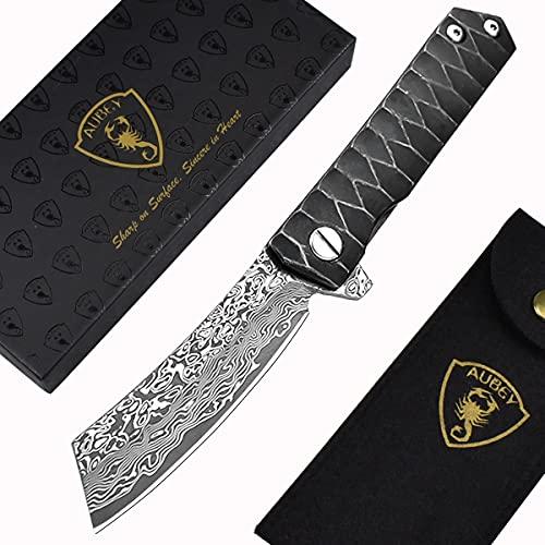 AUBEY Tanto Messer Damast Klappmesser Outdoor Taschenmesser Scharf Angelmesser EDC Damastmesser Survival Jagdmesser Damaststahl Knife