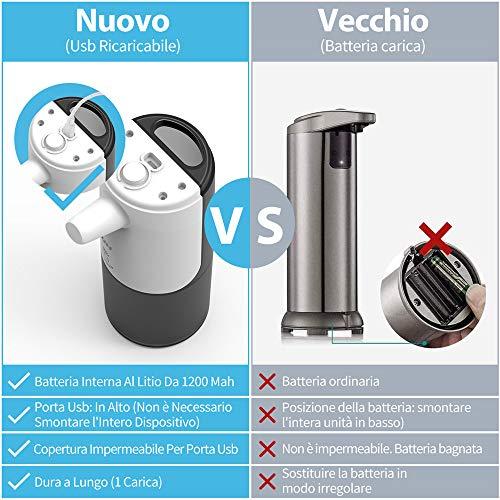Dispenser di Sapone Automatico, Dispenser di Sapone in Schiuma, Dispenser di Sapone Senza Contatto con Sensore a Infrarossi, Utilizzato in Bagno e Toilette in Cucina