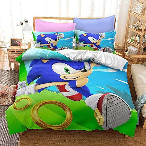 Probuk 3D Sonic The Hedgehog Ropa de cama 100 % microfibra, funda nórdica para niños y niñas, juego de cama con funda de almohada (A-03,220 x 260 cm (50 x 75 cm)