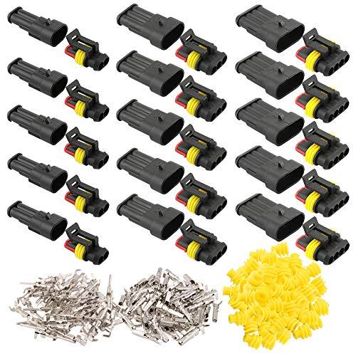 FULARR® 15 Set (2 Pin & 3 Pin & 4 Pin) Profesional Coche Impermeable Cable Eléctrico Conector Kit, Coche Impermeable Rápido Enchufe Terminal, para Coche Moto Camión