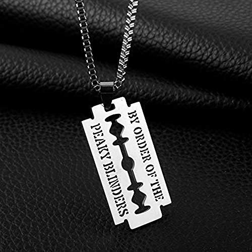 NC122 Edelstahl Halskette Rasiermesser Anhänger Schmuck Perlen Kette Friseur Shop Thema Beschriftet von Order Peaky Blinders