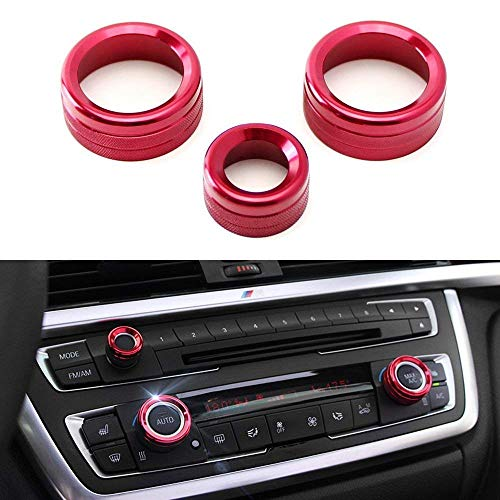 iJDMTOY 3pcs Red Anodized Aluminum AC Climate Control and Radio Volume Knob Ring Covers Compatible With BMW 1 2 3 3GT 4 Series (F20 F22 F30 F31 F32 F33 F80 F82 F87)