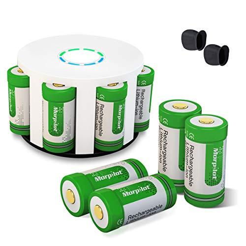 CR123A Wiederaufladbare Lithium Batterie, Keenstone 8 Stücke 3,7V 700mAh Arlo Kamera Akkus mit Batterie Gehäuse/Kamera Hülle (VMC3030 / VMK3200 / VMS3230 / 3330/3430/3530) Taschenlampe