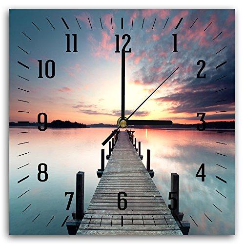 Feeby, Wanduhr, mehrfarbige Deco Panel Bild mit Uhr, 30x30 cm, Steg, See, Sonnenuntergang, Wasser, Aussicht, Landschaft, VIOLETT, BRAUN