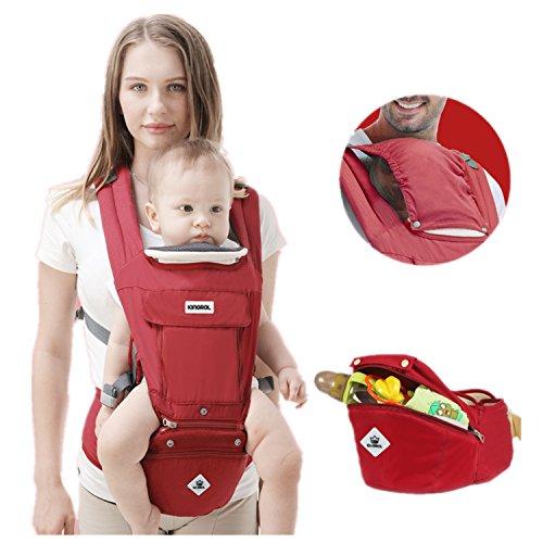Babytrage/Kindertrage Bauchtrage Ergonomisch mit Hüftsitz 3in1,Rückentrage Hüfttrage für alle Jahreszeiten,verstellbar - für Neugeborene&Kleinkinder,Hellblau,Rot