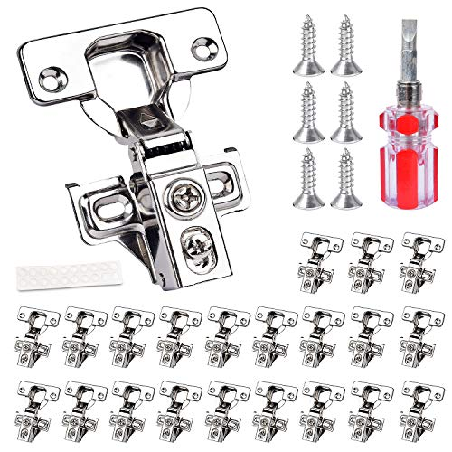 VIGRUE 22 PCS Cabinet Door Hinges, Soft Closing Door Hinge 3/4' Overlay 105 Degree Stainless Steel Hinge for Kitchen with Mounting Screws and Manual