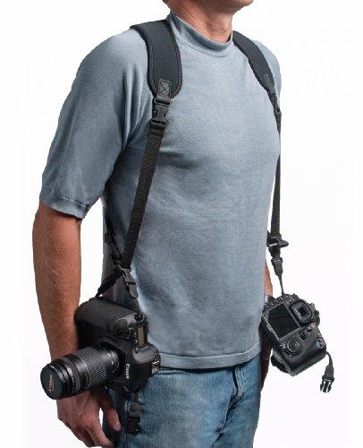 OP/TECH - Arnés de Neopreno para 2 cámaras, Color Negro
