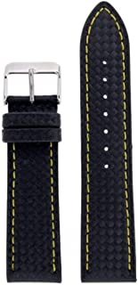 Watch Band Carbon Fiber Black Yellow Stitching Water Resistant 22 Millimeter