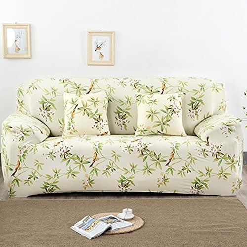 PPOS Funda de sofá elástica Universal, sofá seccional, sillón, Funda de Muebles, Flores, pájaros, Hojas A4, 4 Asientos, 235-300cm-1pc