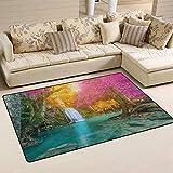 SunsetTrip - Alfombra para sala de estar, dormitorio, diseño de cascada, otoño, selva, alfombra moderna, antideslizante, suave, lavable, 152 x 99 cm