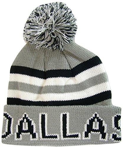 BVE Sports Novelties Dallas Adult Size Thick Warm Winter Knit Pom Beanie Hats (Gray/Black)