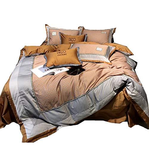 LZCMN Ropa de Cama Conjuntos colchonetas Ropa de cama Juego de cama completo de 4 piezas de algodón Otoño e invierno Mantener caliente Incluye funda de colcha X1 Fundas de almohada X2 y sábana ajustab
