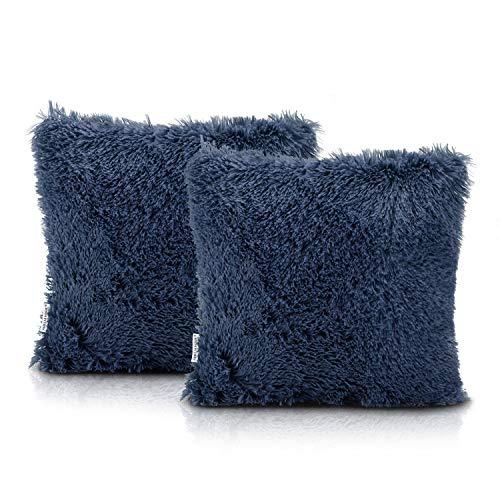 AmeliaHome Juego de 2 fundas de cojín Shaggy de 45 x 45 cm, color azul oscuro