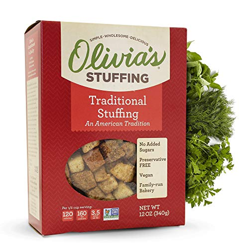 Olivia's Croutons - Traditional Stuffing (2 pack) - Vegan Stuffing - Natural Stuffing Mix - Crouton Bread Cubes - Vegetarian Stuffing Mix - Stuffing 12 oz