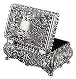 HAOKTSB Caja de almacenaje Jewelry Box Retro Metal Joyería Organizador Decorativo con diseño Floral Caja de Almacenamiento de Joyas (Color : Pewter Silver)