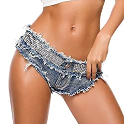 Slim Low-Waisted Mini Jeans with Rhinestone Decoration
