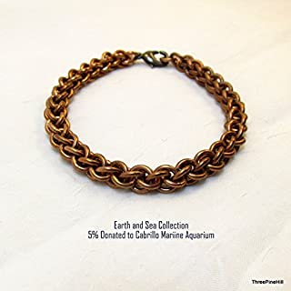 Solid Bronze Chainmaille Bracelet Handwoven in a Jens Pind Pattern