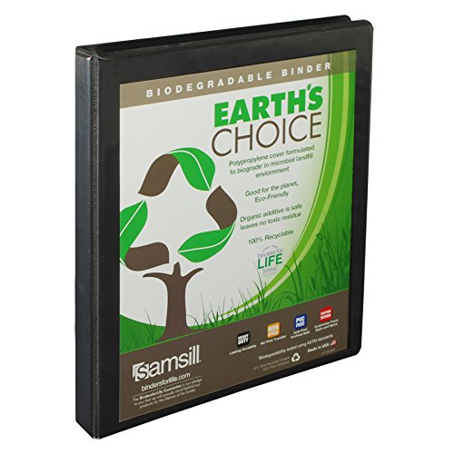 Samsill Earth's Choice Biobased Durable 3 Ring View Binder, .5 Inch Round Ring, Up to 25% Plant Based Plastic, USDA Certified Biobased, Black