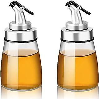 TAMUME Botella de Aceite de Vidrio con Marcas de Medición y Dispensador de Vinagre con Drizzlers para Cocina, Aderezo y Especias Olla de Dispensador (160ml 2pcs)