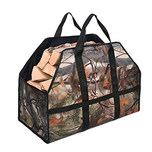 JFJL Firewood Carrier, Large Canvas Log Carriers Tote, with Super Strong Double Straps for Reinforce, Fireplace Wood Holder Accessories