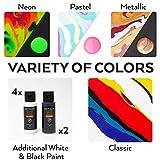 Arteza Pouring Acrylfarbe, 32 Stück-Set, 60 ml Flaschen mit vielen Farbtönen, flüssige Gießfarbe, kein Mischen erforderlich, Farbe zum Gießen auf Leinwand, Glas, Papier, Holz, Fliesen und Steine - 2