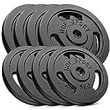 Hop-Sport 60 kg Gusseisen Hantelscheiben-Set - Verschiedene Varianten zur Auswahl - Gewichte mit 30/31 mm Bohrung (4x10 + 4x5)