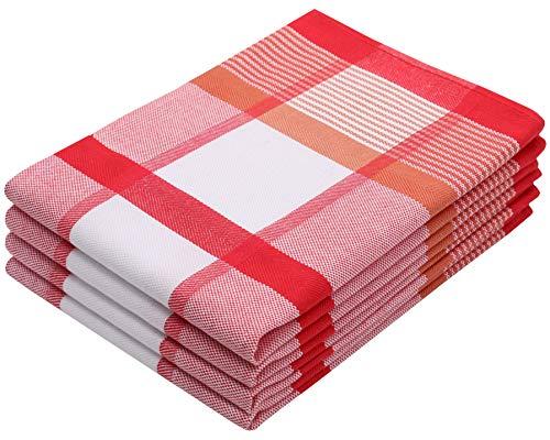 ZOLLNER 4er Set Geschirrtücher Baumwolle, 50x70 cm, rot (weitere verfügbar)