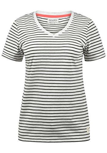 DESIRES Melina Damen T-Shirt Kurzarm Streifenshirt Shirt Mit V-Ausschnitt, Größe:S, Farbe:Black (9000)