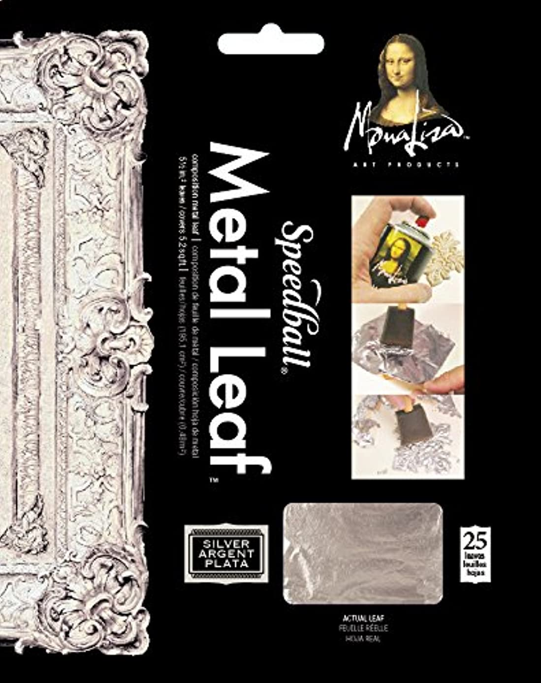Speedball 10206 Mona Lisa Composition Silver Metal Leaf Sheets, Metal Leafing Sheets Made of Aluminum - 25 Pack
