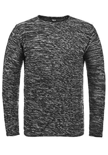 !Solid Foury Herren Strickpullover Feinstrick Pulli mit Rundhals-Ausschnitt aus 100% Baumwolle Meliert, Größe:L, Farbe:Black (9000)