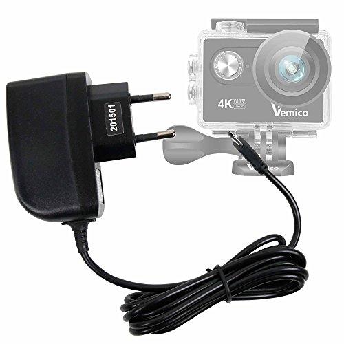 DURAGADGET Cargador (2 Amperios) para Cámara Deportiva Vemico V2 - con Conexión Micro USB Y Enchufe Europeo De Pared - Certificado por La CE