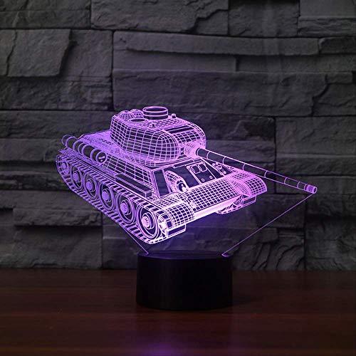 Luz de noche 3d Lámpara de mesa táctil de tanque 7 colores Lámpara de escritorio cambiante Lámpara 3d Novedad Luces de noche LEDLámpara de sala deluz LED de estrella de la muerte