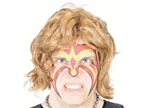 Wrestler Extreme Warrior Makeup Temporary Tattoo Ultimate Wig & Armbands Costume Set