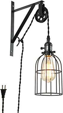 Rustic Vintage Farmhouse Design Wall Lamp Sconce,Industrial Pulley Design Wall Sconce Pendant Light with Fabric Cord