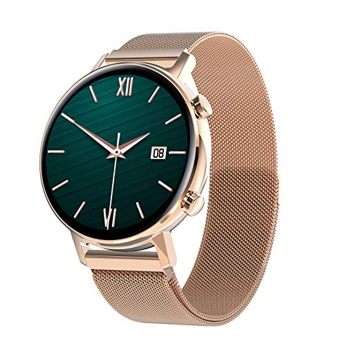 BNMY Smartwatch Mujer Hombre, Reloj Inteligente Pantalla Táctil Completa, Pulsera Impermeable IP67 De Monitor De Sueño Contador De Caloría Pulsómetros Podómetro para Android iOS,Oro