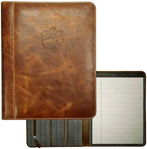 Carolina Sewn Clemson University Tigers Padholder Tan Genuine Leather Padfolio product image