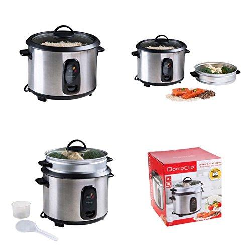 2in1 Dampfgarer und Reiskocher aus Edelstahl 1,8 Liter (Alu-Dämpfeinsatz, Dampfkocher, Dampf-Gareinsatz, Sicherheits-Glasdeckel, 700 Watt)