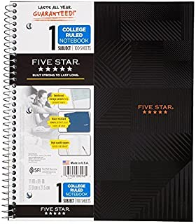 "Five Star Spiral Notebook, 1 Subject, College Ruled Paper, 100 Sheets, 11"" x 8-1/2"", Graphics, Design Selected For You (08..."