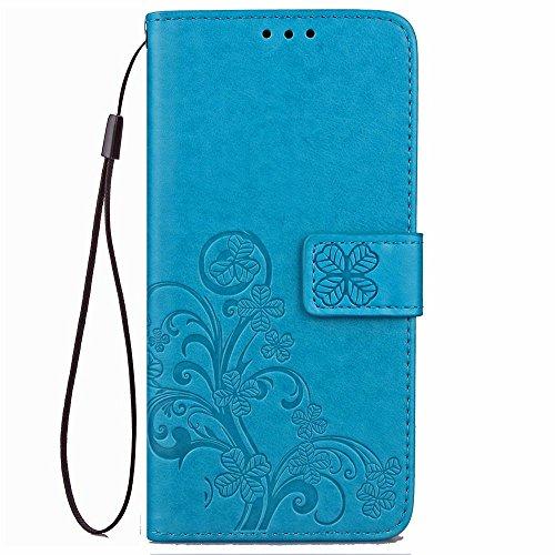 LAGUI Funda Adecuado para Xiaomi Mi MAX 3, Relieve Dibujo Carcasa de Tipo Libro con Ranuras para Tarjetas de Soporte Horizontal y Solapa con Cierre magnético, Azul